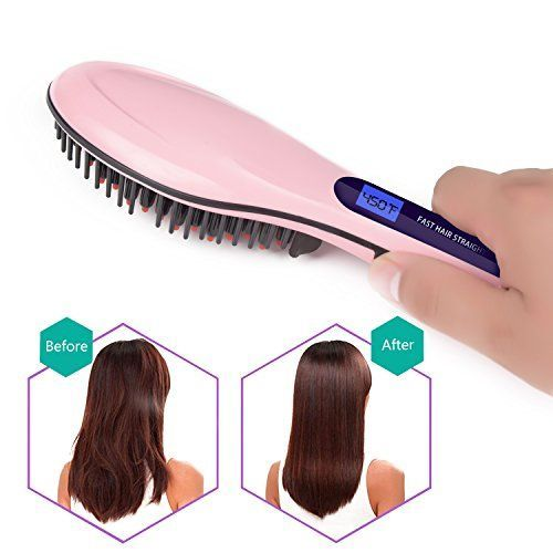 Hair Straightener Brush Ceramic Heating Hair Straightening Brush Temperature Display Anti-scald Effective Hair Comb Pink Color Available. For product & price info go to:  https://beautyworld.today/products/hair-straightener-brush-ceramic-heating-hair-straightening-brush-temperature-display-anti-scald-effective-hair-comb-pink-color-available/