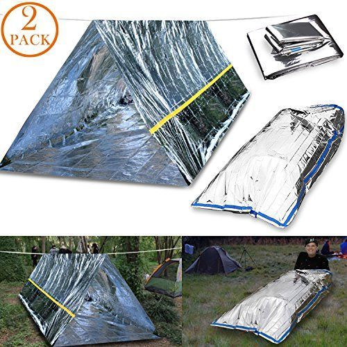 CEEBON Emergency Mylar Thermal Survival Tent and Sleeping Bag Survival Shelter for Camping Hiking Travelling or Adventures (Pack of 2)--9.88 Check more at https://www.uksportsoutdoors.com/product/ceebon-emergency-mylar-thermal-survival-tent-and-sleeping-bag-survival-shelter-for-camping-hiking-travelling-or-adventures-pack-of-2/ #CampingTents