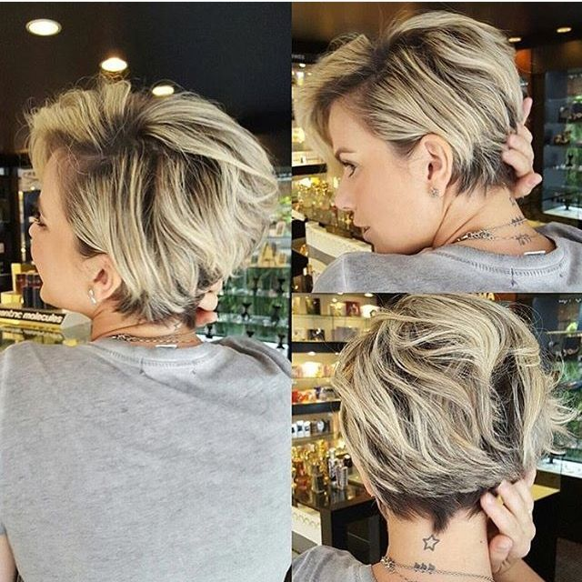 Back view of layered pixie