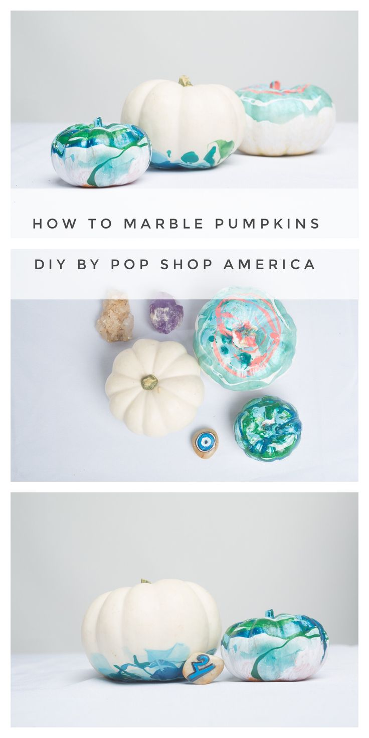 Looking for an easy and gorgeous no carve pumpkin diy? Then you've gotta make these DIY Marbled Pumpkins. They are so fun and simple. They are modern and original. They're not just great for Halloween, but perfect for the entire fall season!