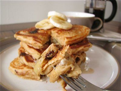 Chocolate Chip Banana Pancakes for One by Healthy Food For Living