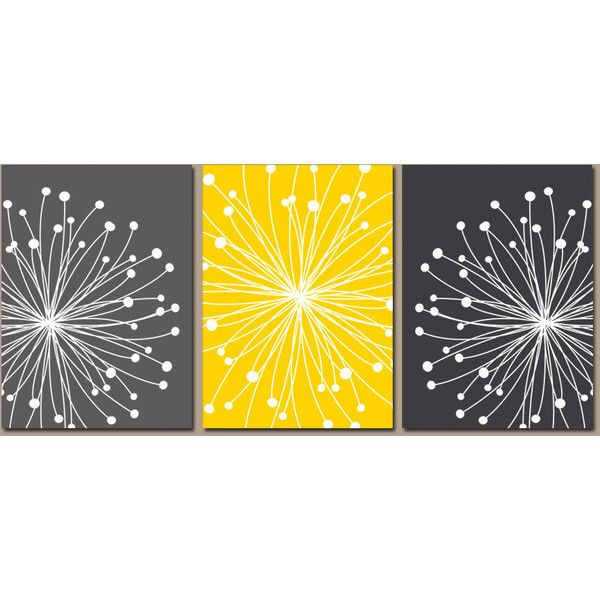 DANDELION Wall Art, CANVAS or Prints Gray Yellow Bedroom, Bathroom... ❤ liked on Polyvore featuring home, home decor and wall art