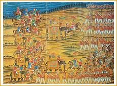 The Battle of Pollilur 1780, D/ Haidar Ali and Tipu Sultan   Gouache on five sheets of paper, with canvas backing  224.8 x 976 cm   Unknown Indian Artist c.1840   When, on 7th August 1778, the British Government at Calcutta received official confirmation that war with France had been declared in Europe, Warren Hastings was already prepared for action. The French settlements, including the ports of Pondicherry and Mahe were his target, and Sir Hector Munro, with a large force, was dispatched…
