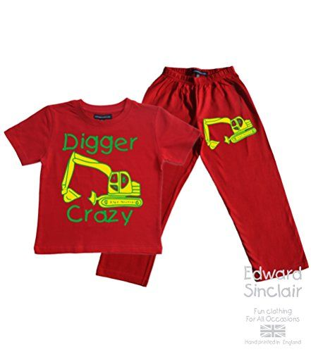 Children's Red PJ SET (Print also on Pants) 'DIGGER CRAZY' with Yellow & Green print Edward Sinclair http://www.amazon.co.uk/dp/B00UJM3O6G/ref=cm_sw_r_pi_dp_HDMRvb13QXXMW