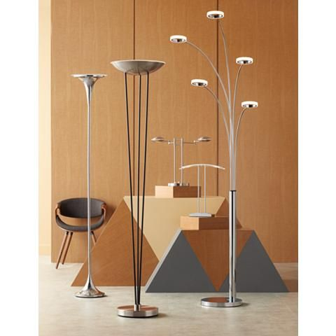 Possini Euro Sentry Chrome LED Torchiere Floor Lamp - #8W461 | Lamps Plus