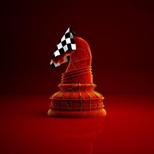 """""""Maak kennis met #TheCheckeredKnight! Nu verkrijgbaar op #canvas & plexiglas #ChristmasGiftIdeas"""" #PremiumChess #art #illustration #3Dartwork #3Ddesign #chess #LikeableDesign #chesspieces #chessart ♕ ♔ ♖ ♗ ♘ ♙"""