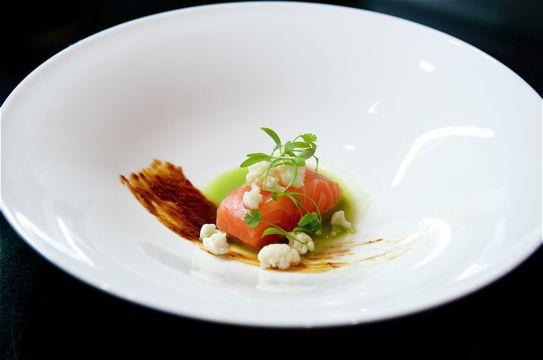 Restaurant Sat Bains. Nottinghamshire, UK.  Organic Salmon, Miso Caramel, nettle juice.  1 Michelin star