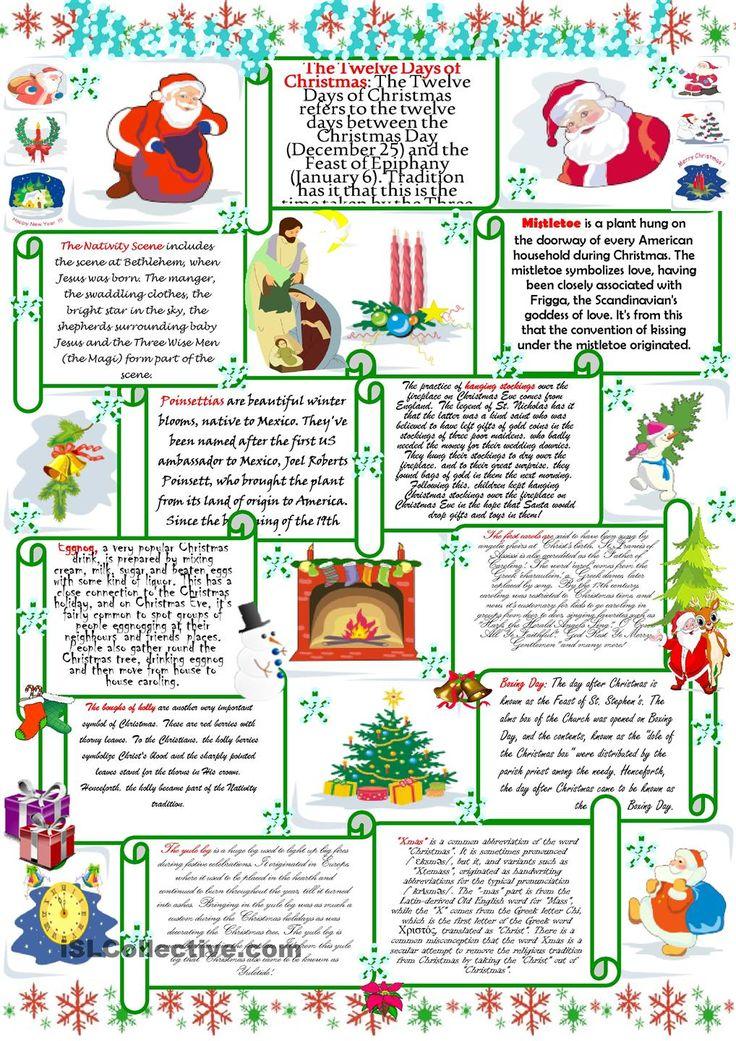 Holiday English Worksheets : Best christmas images on pinterest english language