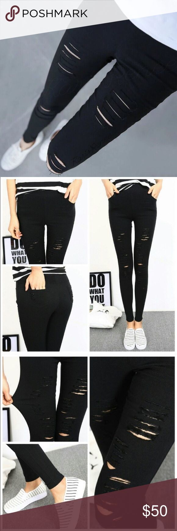 Super stretch distressed black skinnies These skinny pants literally stretch across sizes! Marked XL, these look tiny but stretch to accommodate anywhere from size small to large. The small framed model is wearing these in XL, can you believe it?! It's more like a 1 size fits all pant (Which is hard to find!) //stretch fabric looks like denim // intentionally textured featuring side and back pockets, these black skinny pants are perfect for your modern wardrobe. Pictures are of actual…