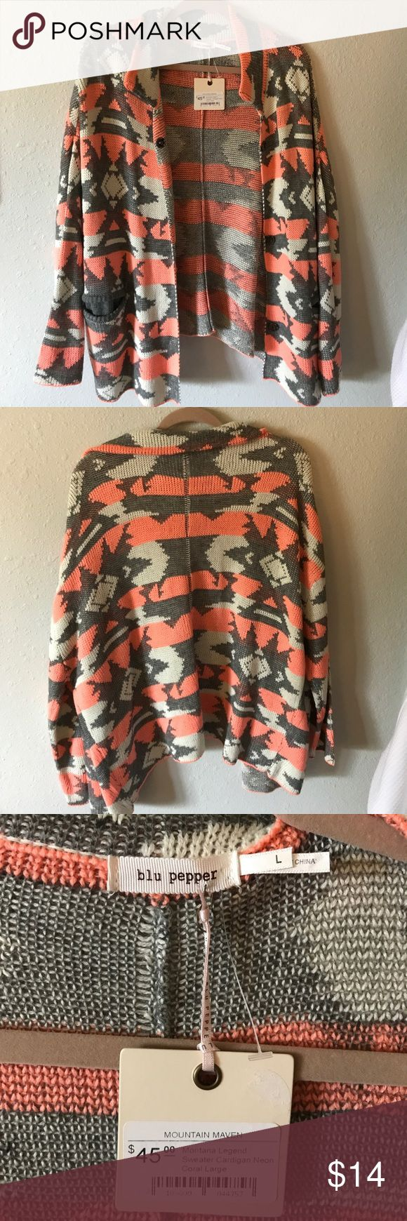 Tribal Print Cardigan Pink, grey, and cream colored knitted cardigan Blu Pepper Sweaters Cardigans