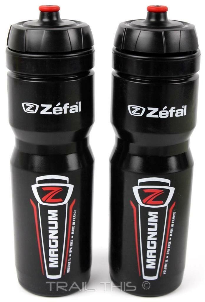 2-Pack Zefal Magnum 33oz 1L Wide-Mouth Bike Water Bottles Dishwasher Safe Black