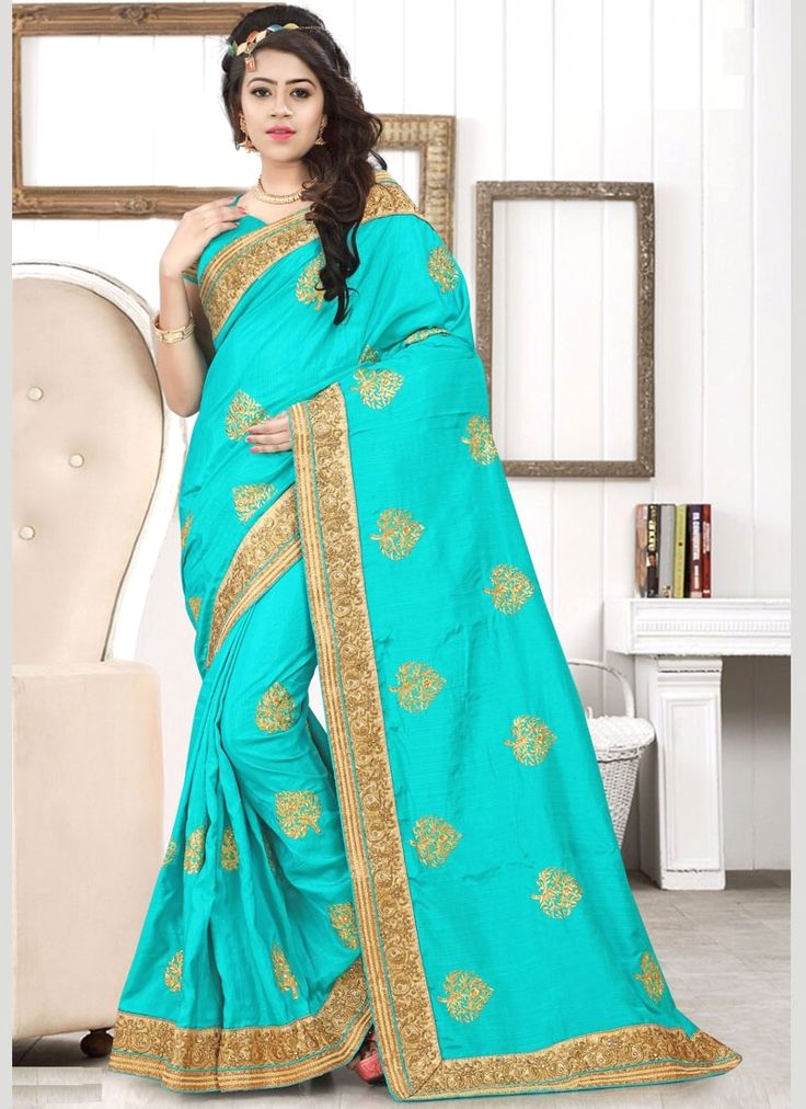 Buy latest saree collection of designer wedding sarees for womens, cheap indian sarees shopping. Buy this amazing art silk turquoise traditional  saree.