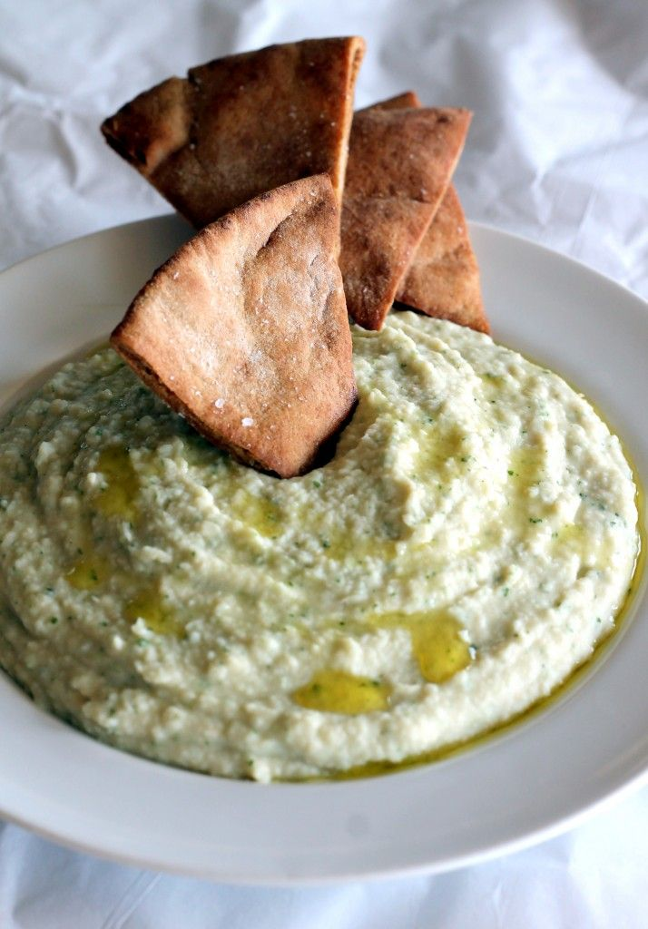 Garlicky dip and pita chips. Garlic white bean basil hummus: A delicious, fresh tasting appetizer that will please any crowd.