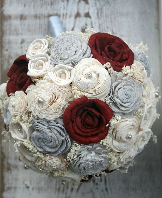 Maroon Red & Light Grey Everlasting Bride's Bouquet by TheSunnyBee
