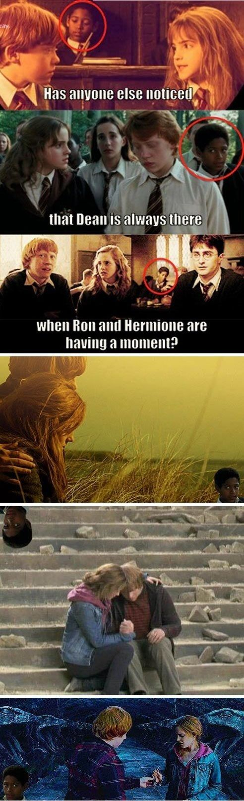 Interrupting Dean. Hahaha, poor Ron and Hermione. :p