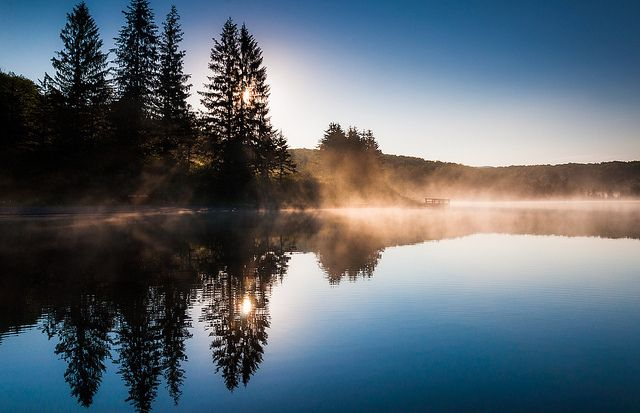 Fog on Spruce Knob Lake after sunrise, Monongahela National Forest, West Virginia.