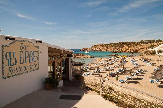 Ses Eufabies, awesome and affordable spot for lunch or dinner overlooking Cala Tarida. Super friendly staff as well
