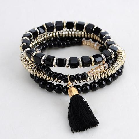 Hot Sale New Fashion Personalized Bohemian ethnic style Multilayer beaded Tassel Elastic Bracelets jewelry for women 2016