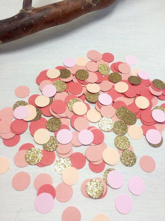 1,000 Coral, Blush Pink & Gold Glitter Confetti | Circle Confetti | Bridal Shower | Table Decor | Wedding | Baby Shower | Small Confetti |