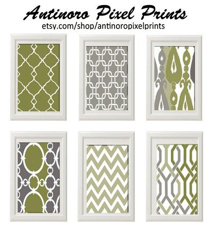 Khaki Greens and Greys Chevron Ikat Digital by antinoropixelprints