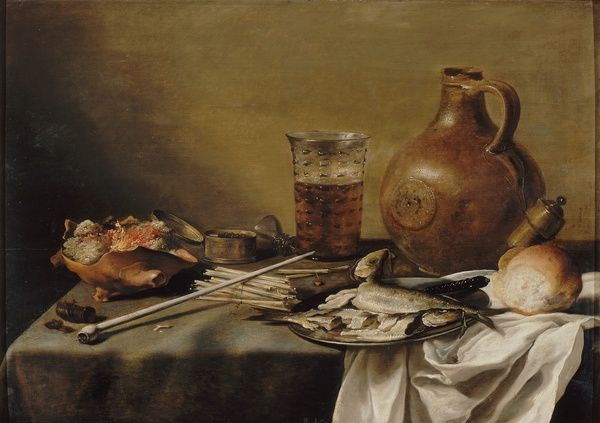 Pieter CLAESZ Nature morte au verre de bière (still life with glass of beer),1644 ~ around this era, beer was a staple of Puritan diets... it was considered healthier and safer to drink than groundwater (although I personally would have boiled mine)
