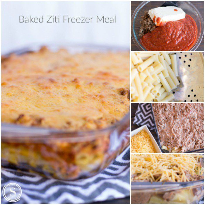 Baked Ziti: 1 Box of Ziti Pasta or Any Variety 2 Cups Cooked Ground Beef 1 24 oz. Jar of Pasta Sauce 1 8 oz. Cream Cheese 8 oz. Shredded Cheddar Cheese