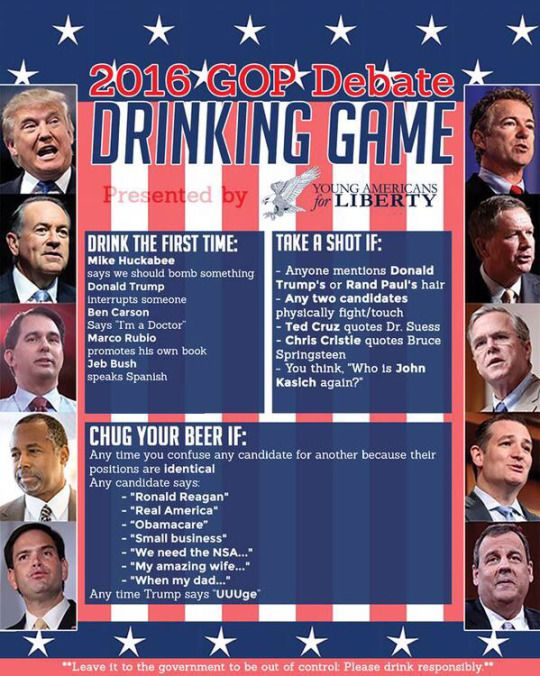 2016 GOP Debate Drinking Game: In the five minutes that I've been watching, I would have to chug 4 beers.