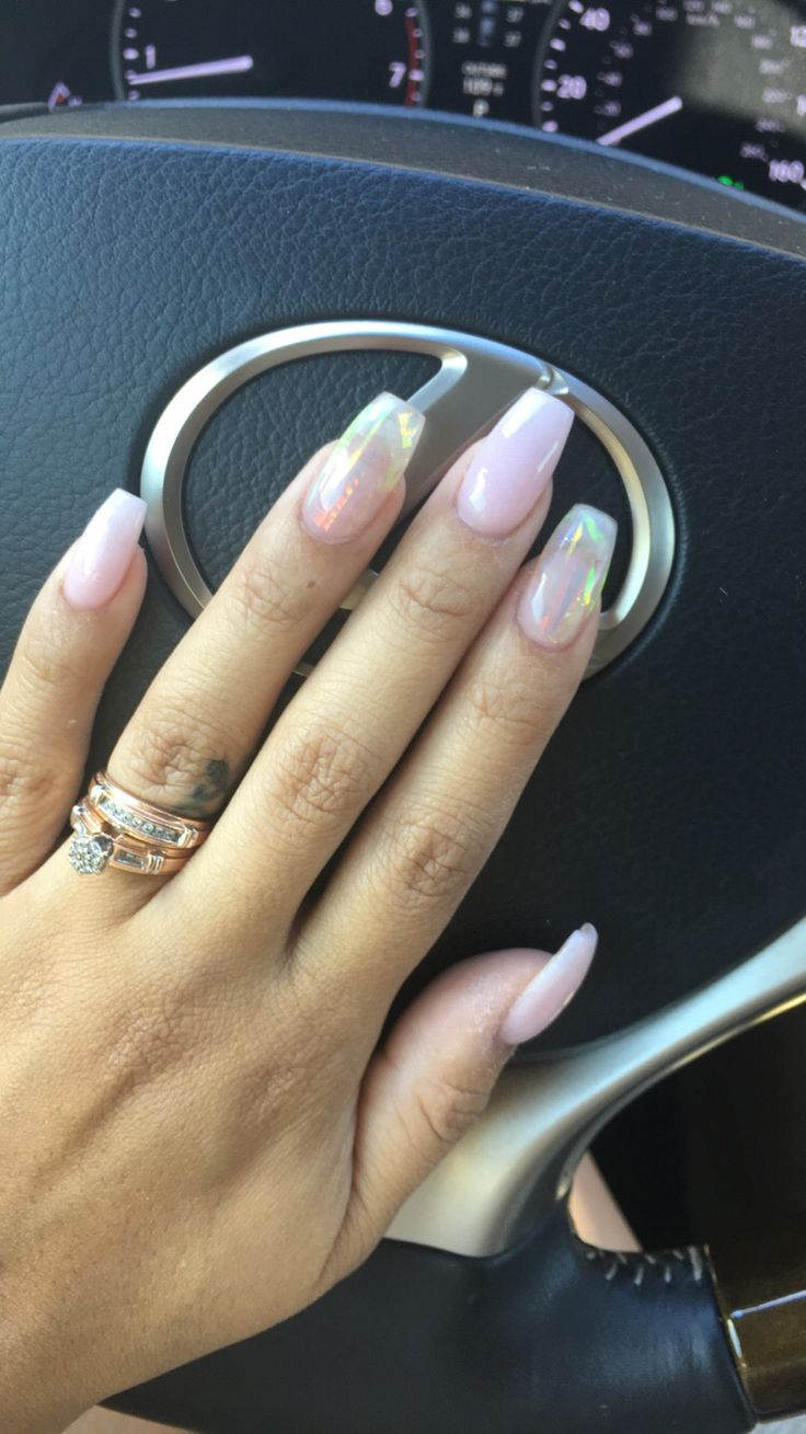 Natural pink acrylic nails with broken glass iridescent film affect .