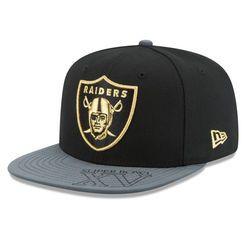 Oakland Raiders New Era On the Fifty Logo Edge Adjustable Snapback Hat - Black