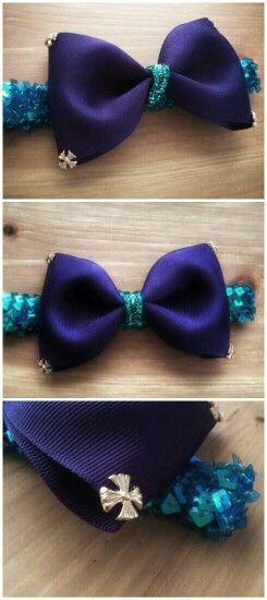 Purple and Teal large bow headband @theberkeleybowco