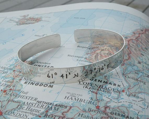 Custom Geographical Coordinates Cuff Bracelet. thatd be so cute if youre husband/boyfriend gave you that with the coordinates of your first date or something like that..like thatll ever happen.
