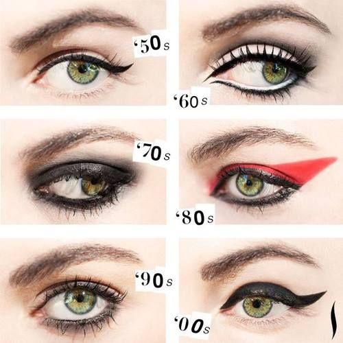 eye make up: 50s, 60s, 70s, 80s, 90s, 00s