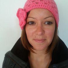 Bonnet rétro chic rose 100 % fait main 100 % crochet