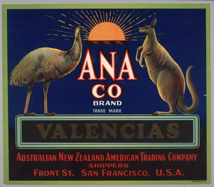 Anaco Brand, Valencias orange label, c. 1910