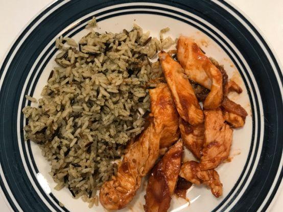 Sriracha-Glazed Chicken and Onions over Long-Grain Rice