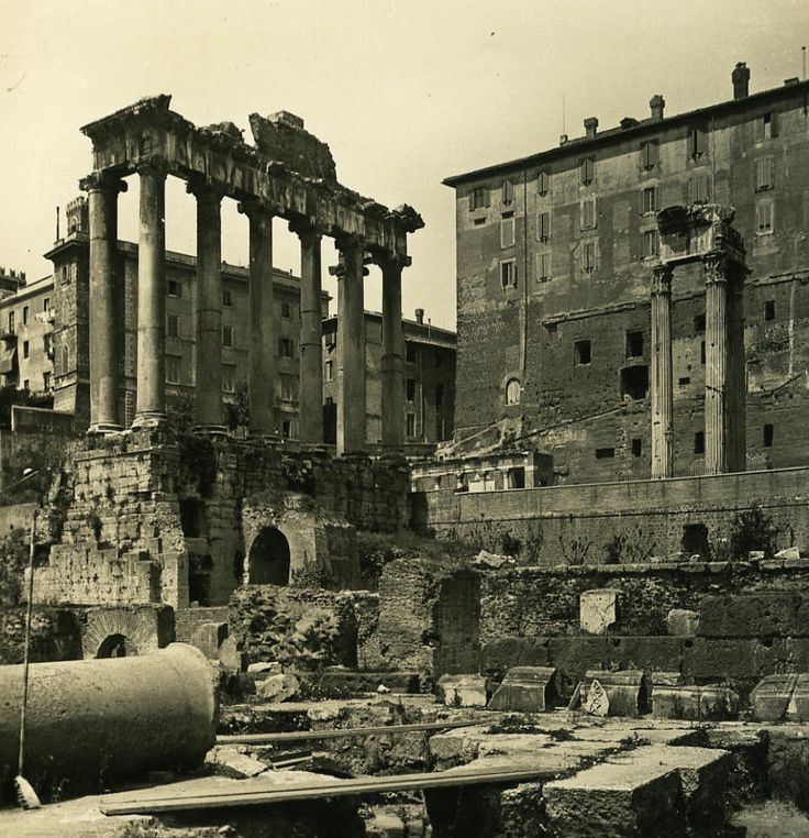 Italy Roma Forum Roman Temple of Saturne old NPG Stereo Photo 1900