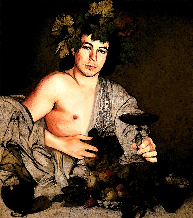 """Caravaggio's """"Bacco"""" with Andrei Telfer. This is Andrei's torso, in a watercolor version."""
