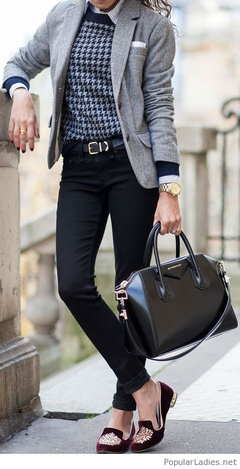 Interesting burgundy flats and office look
