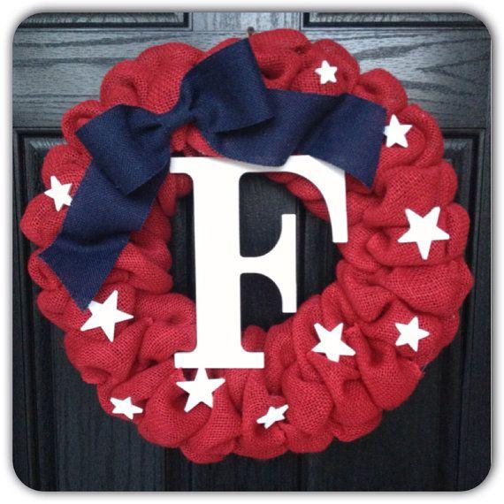 Patriotic Wreath Fourth of July Wreath by SheekBurlapDesigns, $72.00
