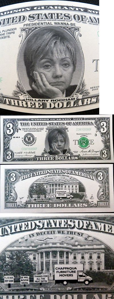 Hillary Clinton: Hillary Clinton Presidential Wanna-Be $3 Novelty Bill Free Shipping! -> BUY IT NOW ONLY: $1.35 on eBay!