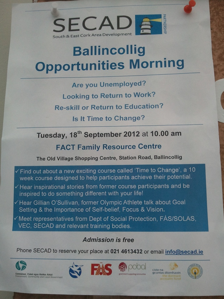 Ballincollig Opportunities Morning  Tues 18th Sept ..10 am