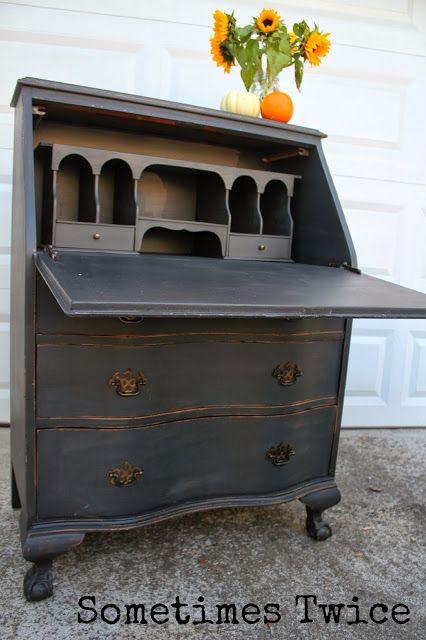 Gorgeous! Sometimes Twice...: Black Antique Secretary