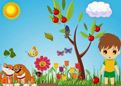 """""""Dans le jardin"""". Jeux en ligne pour les débutants (puzzle de classement et placement sur image) pour fixer les articles définis, le genre et le nombre"""