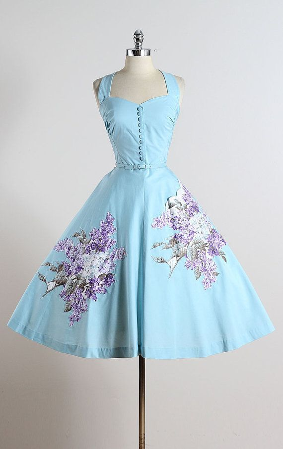 SYRINGA Vintage 1950s dress | Blue polished cotton | Rhinestone studded lilac appliques | Button front accents | Halter strap | Detachable belt