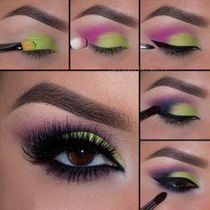 Tutorial de maquillaje de ojos para noche en color verde fosforescente