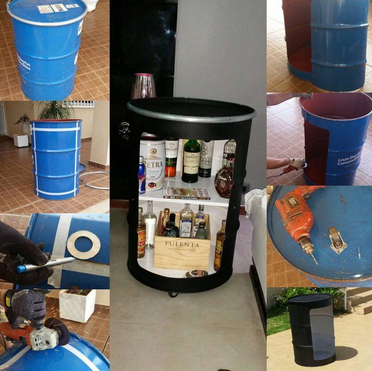 Galeria do Leitor - DIY (do it yourself/ faça você mesmo) Transformação de tambor em barzinho, Painel de panelas com aros feitos com raios de bicicleta e cama de pallet.
