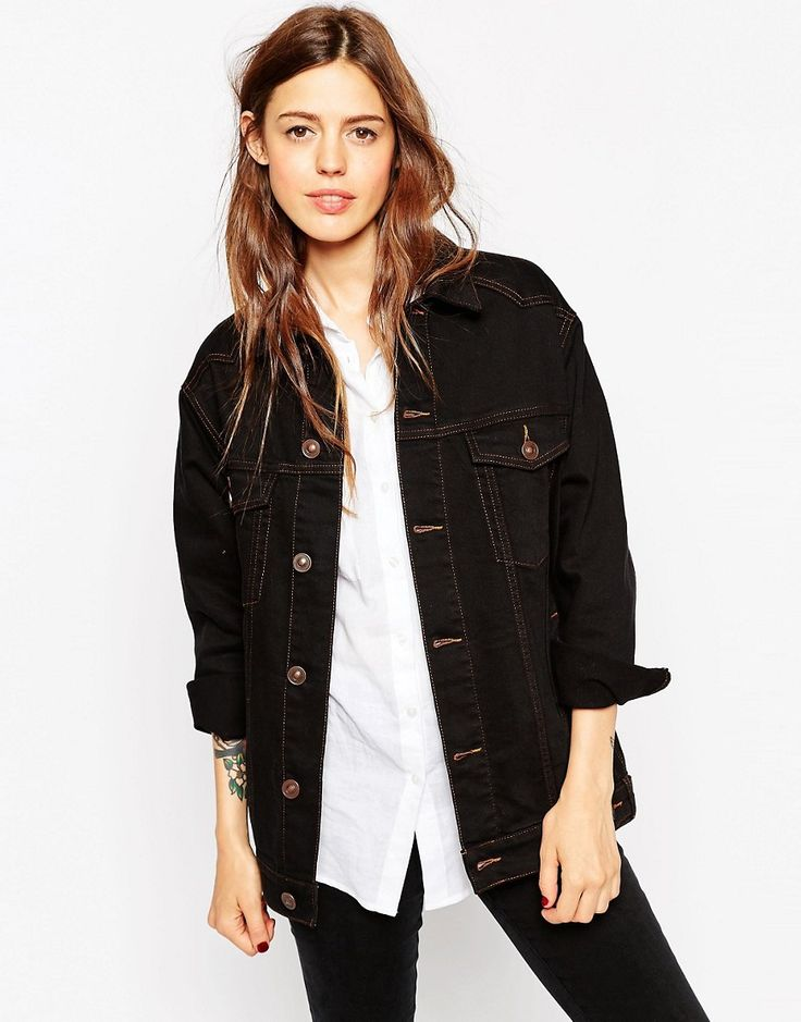 Immagine 1 di ASOS Denim - Giacca girlfriend di jeans nera con cuciture a contrasto