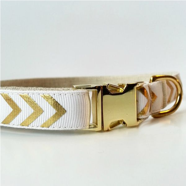 White and Gold Chevron Luxury Dog Collar
