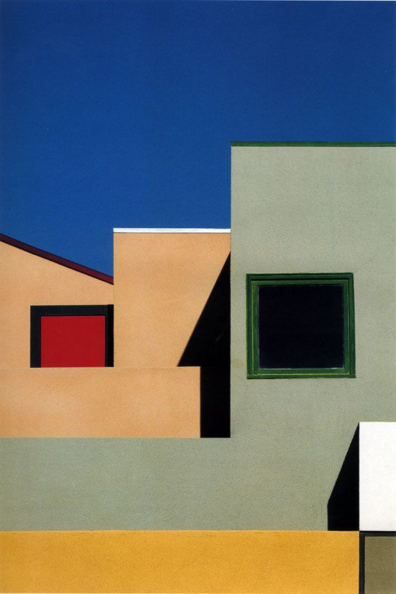 Franco Fontana.  I really think this is some different architecture! It has a great composition, but my eye can't really find a focus.  but I like the structure and the balance in the picture. Even though there is more on the right side I don't think that affects the balance.