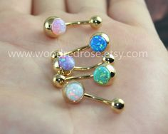 White Fire Opal Belly Button Ring Opal Navel by woodredrose